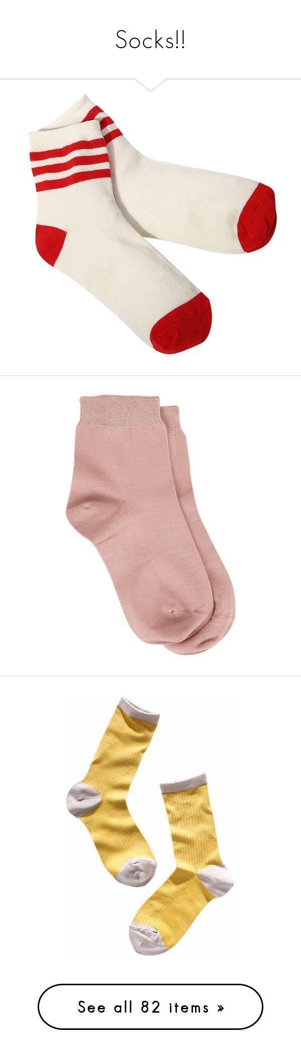 """Socks!!"" by snakehandjimmy ❤ liked on Polyvore featuring intimates, hosiery, socks, red, clothing - socks, striped socks, stripe socks, striped baseball socks, striped cotton socks and cotton socks"
