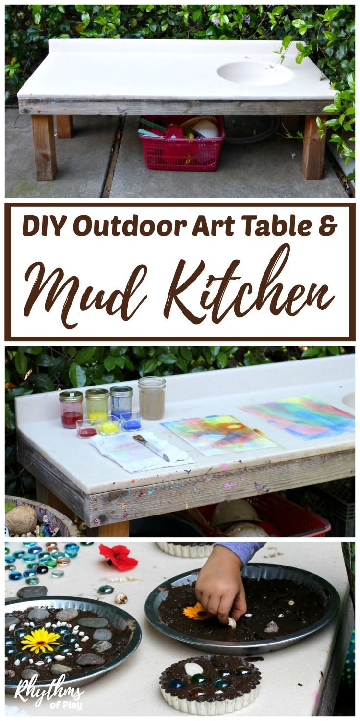 Mud kitchen upcycled pallet mud kitchen pallet kitchen counter with - Diy Outdoor Art Table And Mud Kitchen