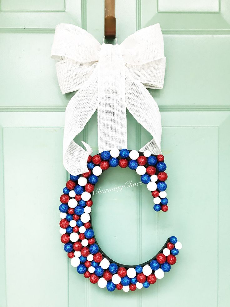 4th of July Wreath - Initial Door Hanger - Monogram Door Hanger - Door Hanger Monogram - Door Hanger - Monogram Door Decor - Room Decor by CharmingChace on Etsy https://www.etsy.com/listing/520690998/4th-of-july-wreath-initial-door-hanger