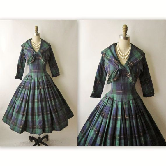 50's Tartan Plaid Dress // Vintage 1950's Blue by TheVintageStudio, $90.00 I wore plaid dresses like this to high shool with penny loafers in the 60's!