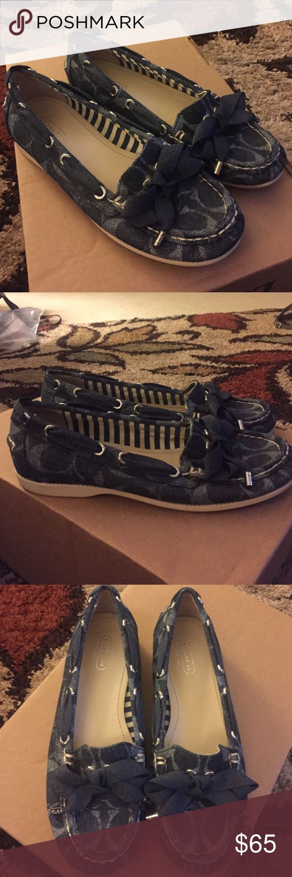 Coach boat shoes Coach blue boat shoes, size 6.5, worn once great condition. Coach Shoes Flats & Loafers
