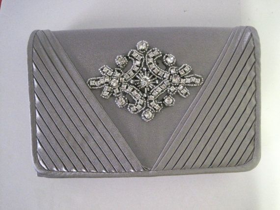 Grey Satin Clutch with a Rhinestone Appliqué  by theraggedyrose