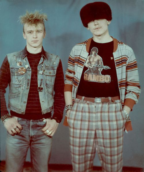 Cold War era Soviet Punks. i mean seriously, think about the balls it took to wear a FUCKING Rambo t-shirt in Soviet Russia! beats the hell out of your lip ring.