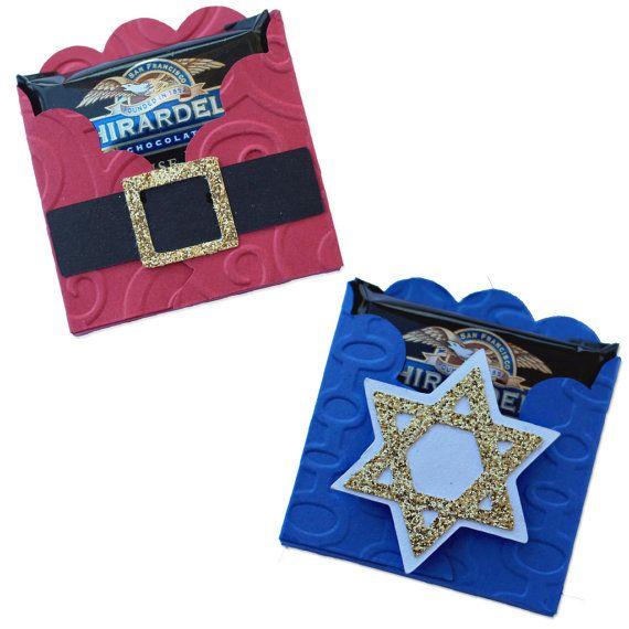 Christmas Favors, Set of6 Christmas Party Favors,  Hanukkah Place Cards, Chocolate Favors, Chocolate Favor Boxes, Star of David, Santa Belt