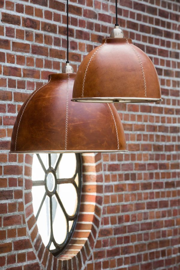 leather pendant lamps. yes!