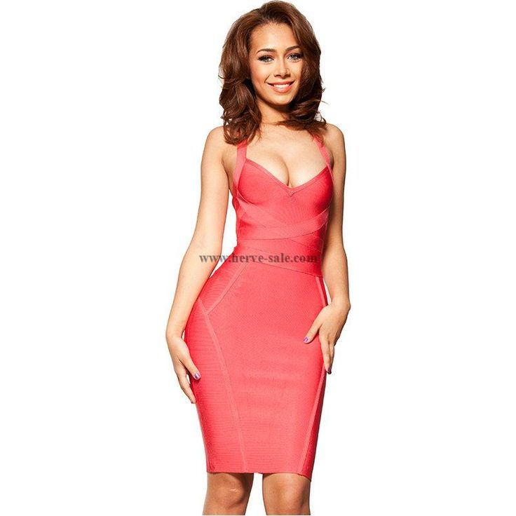 Herve Leger Red Halter Sexy Bandage Dress HL771R