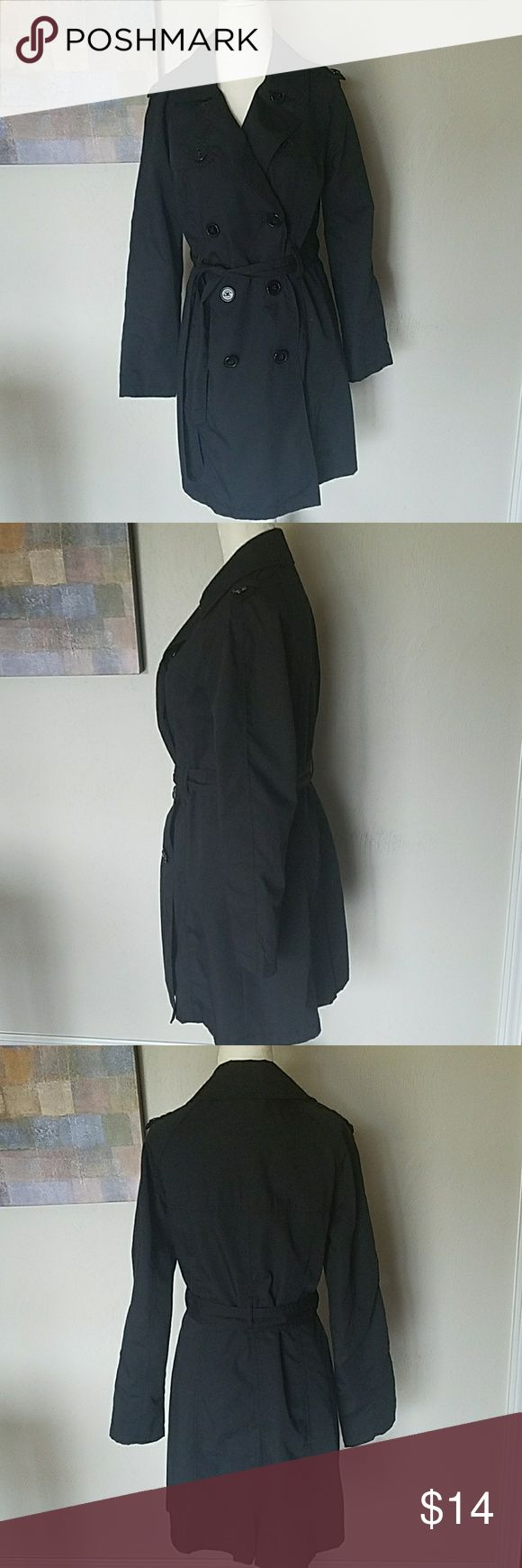 Black Trench Coat Merona black trench coat size small.   This jacket is lightweight and as water repellent! Merona Jackets & Coats Trench Coats