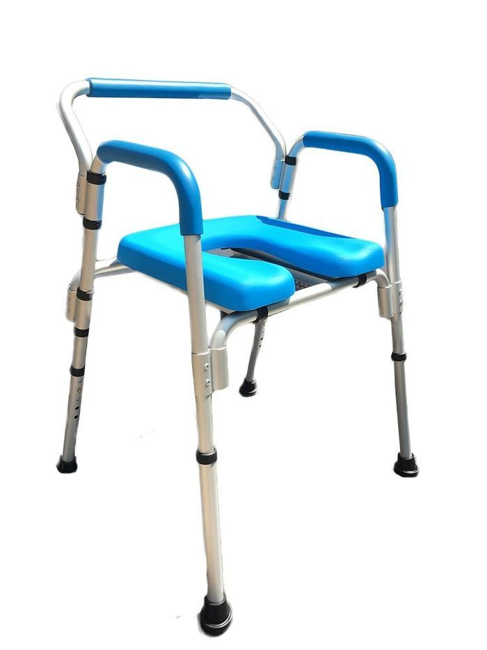3-in-1 PADDED Commode/Shower Chair. Institutional Quality, Padded Armrests and Back, Adjustable Height. MULTI-USE 3-in-1 commode/shower chair can be used anywhere as a standalone commode thanks to the included pail. Can also be used directly over a toilet for safer toileting or as a safe and comfortable shower chair.