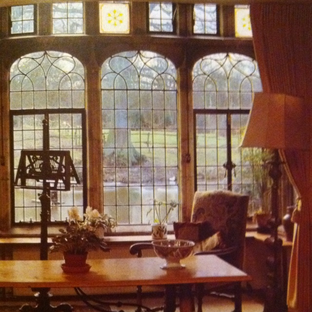 Key Interiors By Shinay English Country Dining Room: Sitting Room With Beautiful Leaded Glass Windows.