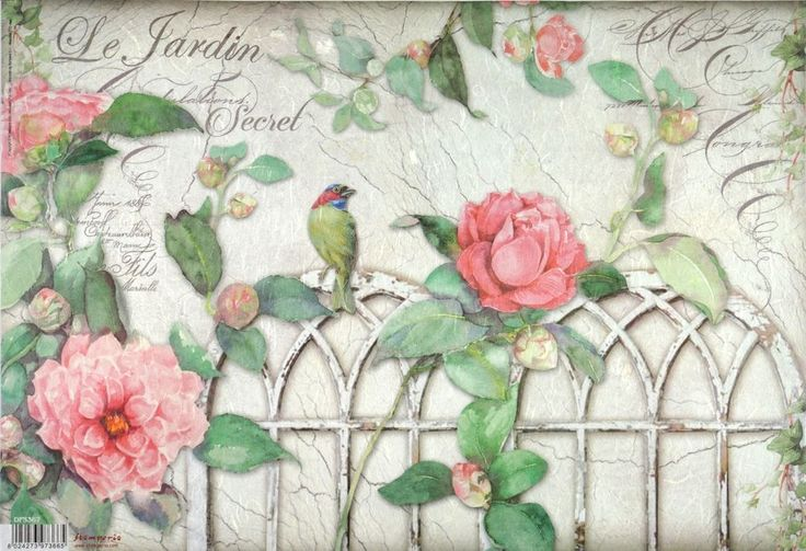Rice Paper for Decoupage Decopatch Scrapbook Craft Sheet Vintage Gate Bird Roses