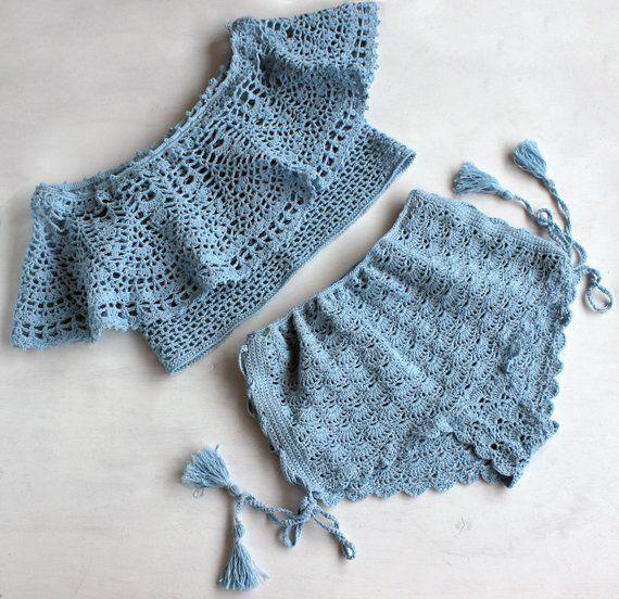 Set, Crop top, crochet top, Crochet shorts, Complete, halter top, top bra, beach crochet set, festival top, hippie top