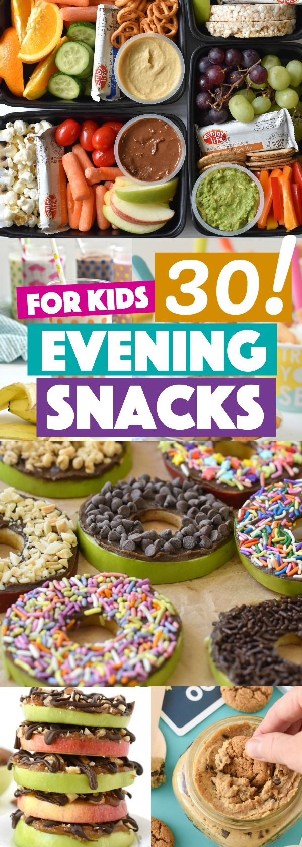A collection of recipes for evening snacks for kids #kidfood #kidsnacks #healthysnacksforkids