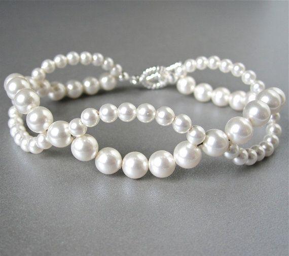 Woven Swarovski pearl bridal bracelet                                                                                                                                                                                 More