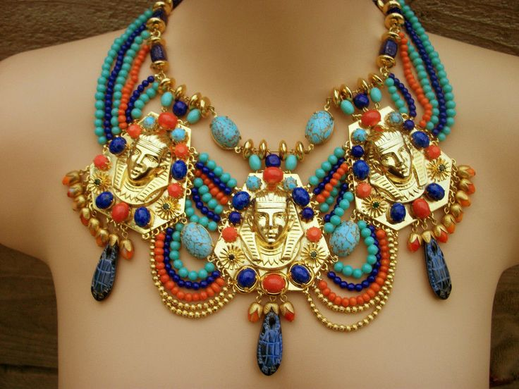 Vintage Miriam Haskell Egyptian Revival Royal Mourning King Tut Bib Necklace | eBay