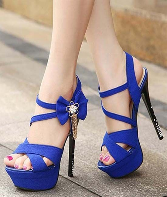 Periwinkle/Purplish Blue Shoes With Black Beaded High Heels