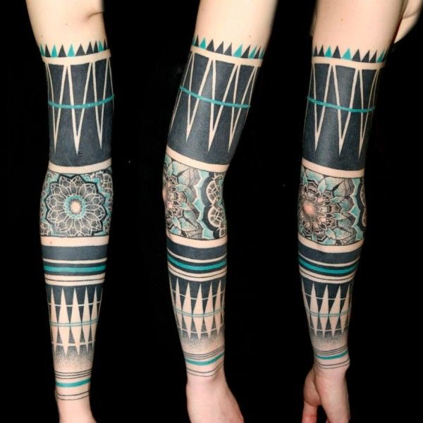 Black and white, geometric, sleeve tattoo on TattooChief.com