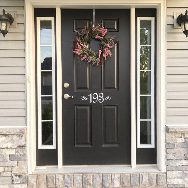 Front door number decal vinyl number door decal custom house number decal front door decal door