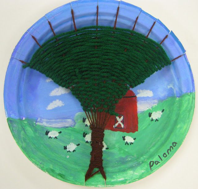 Cassie Stephens: In the Art Room: Tree Weaving with Third Grade elementary art lesson yarn landscape painting