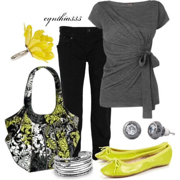 Summer Outfit: Fashion, Style, Purse, Casual, Summer Outfits, Yellow, Gray, Shirt
