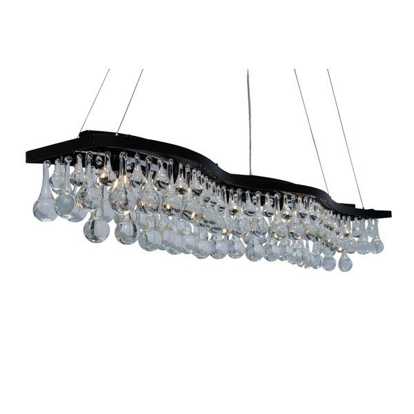 This beautifully unique rectangular Pendant Light captures your attention and lights up your home! This gorgeous Pendant Light is accompanied by glass crystal droplets and 6 lights to make your Pendant Light shine bright from every angle.