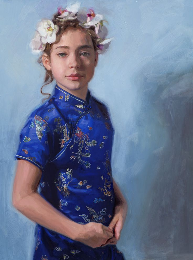 Blue Butterfly. Oil on panel. 60x80 cm. Portrait of a girl in a chinese dress. Painted by Carolien van Olphen
