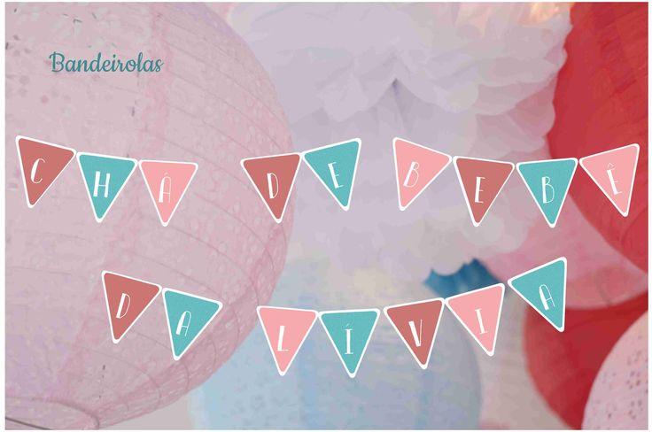 Bandeirolas - Cores Goiaba, Rosa e Azul Turquesa