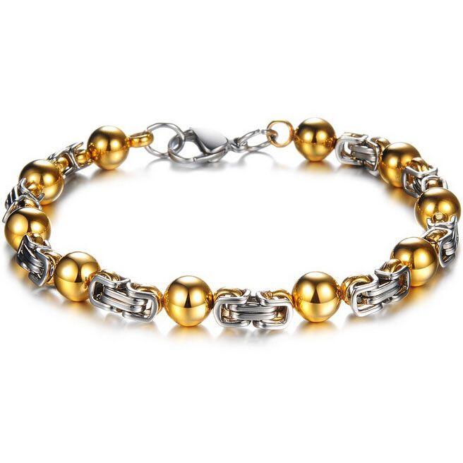 Men's Gold Plated stainless steel Bead Link Bracelet