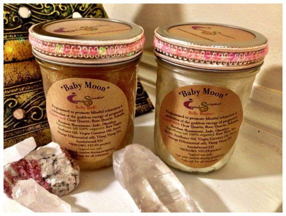 Baby Moon Belly Buff & Belly Butter Gift Set / Crystal Elixir Lotion Body Scrub Cream/ Organic Pregnancy Spa Package Blissful Goddess Energy