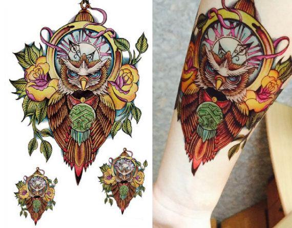 Tattoo Flash Temporary Tattoo Sleeve Arm Owl Floral by MyBodiArt