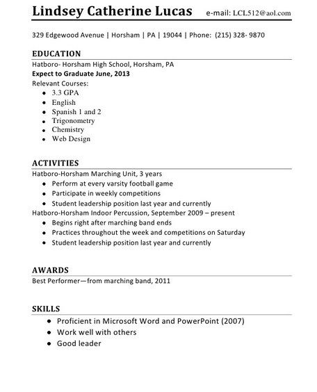 Resume Template First Job Sample First Resume Cv Sample For First