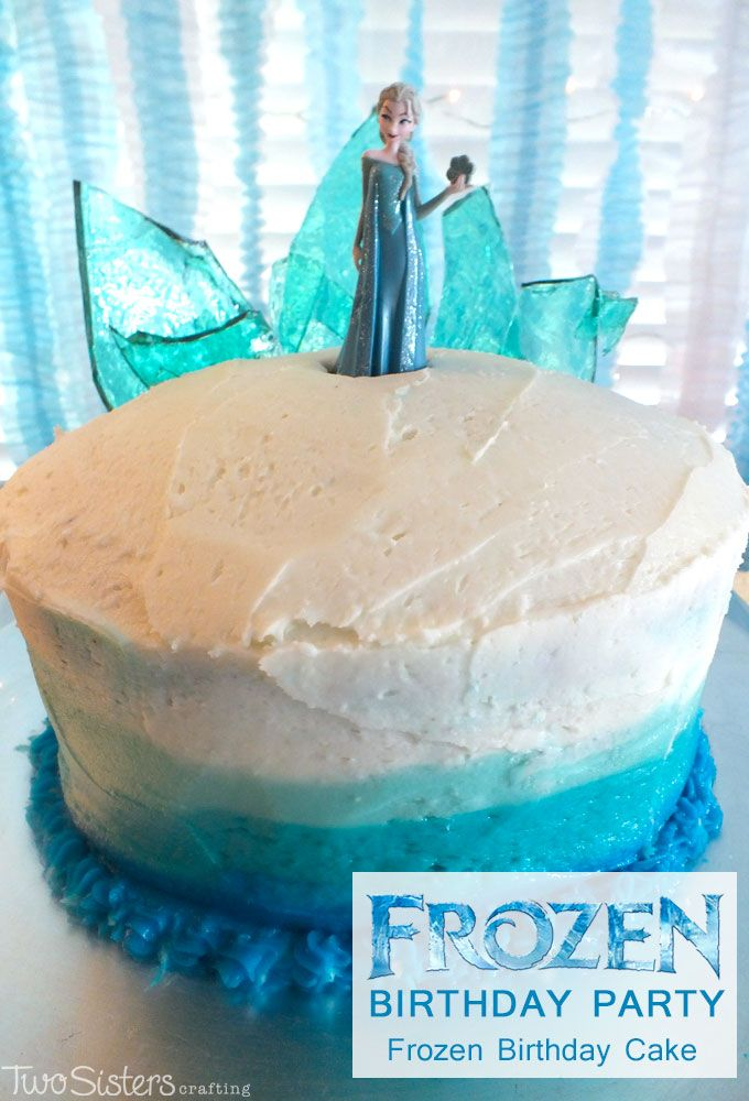 Disney Frozen Birthday Cake with Ombre Frosting - this beautiful Frozen themed chocolate cake with Ombre Buttercream Frosting and a Hard Candy Frozen Fractal Ice Castle Cake Topper was a hit at our Frozen Birthday Party. For more great Frozen Party ideas follow us at http://www.pinterest.com/2SistersCraft/