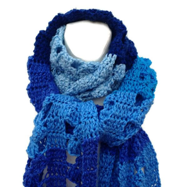 Super Extra Long Scarf Shades of Blue Crochet by ToppyToppyKnits
