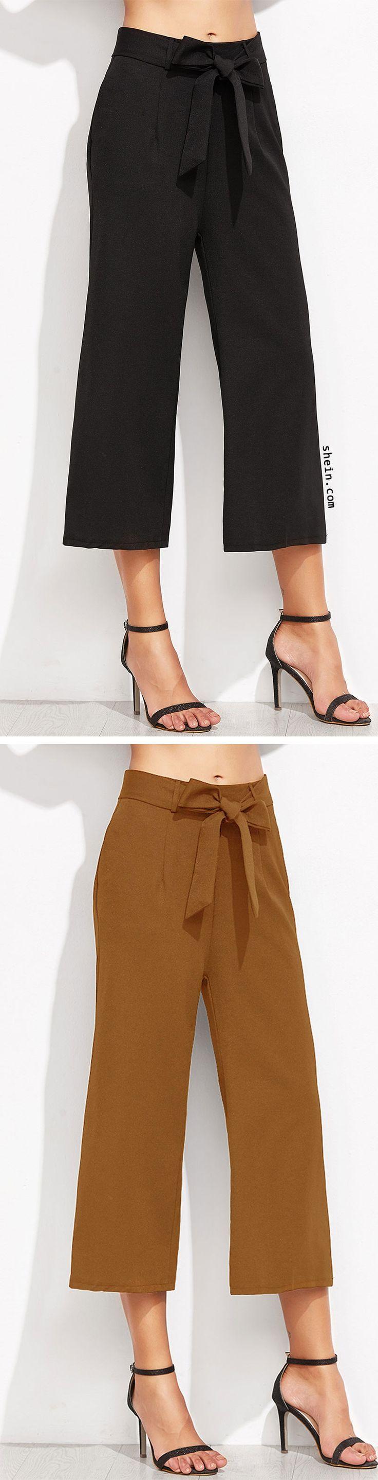 Cropped Self Tie Wide Leg Pants