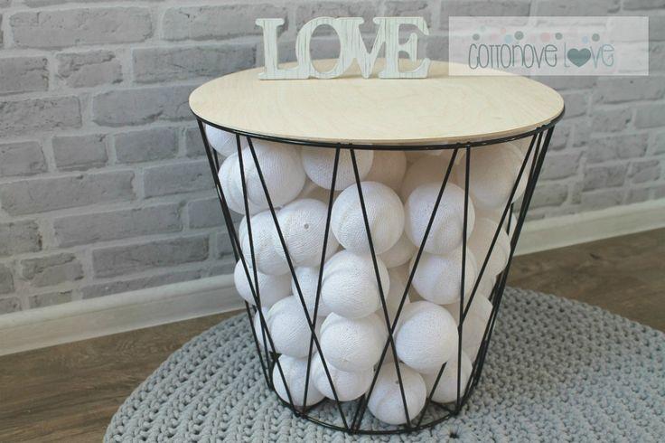 Cotton ball. Balls lighting, cotton ball lights, sklep | cottonovelove.pl > Kosz druciany / stolik SHARP Black