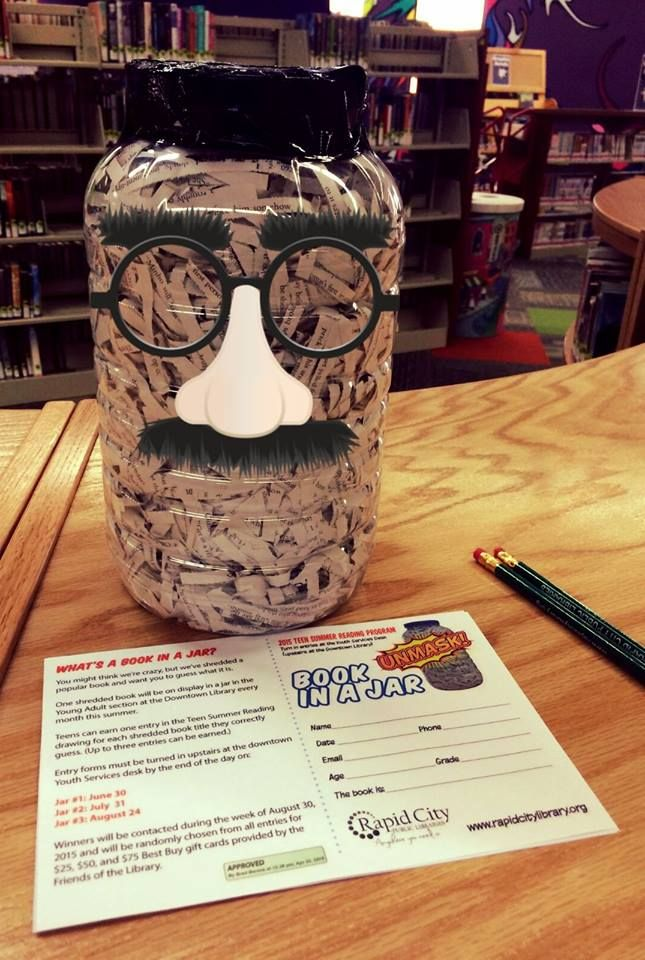 This library reading incentive encourages teens to read more books so that they can guess which shredded book is in this jar -- for a chance to win prizes!