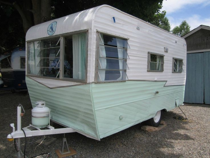 "1964 Terry ""Jewel"" is newly restored, including repaired framing, paneling and re-glazed windows. Updated electric, light fixtures, trailer lights and gas lines. New retro green and whi…"