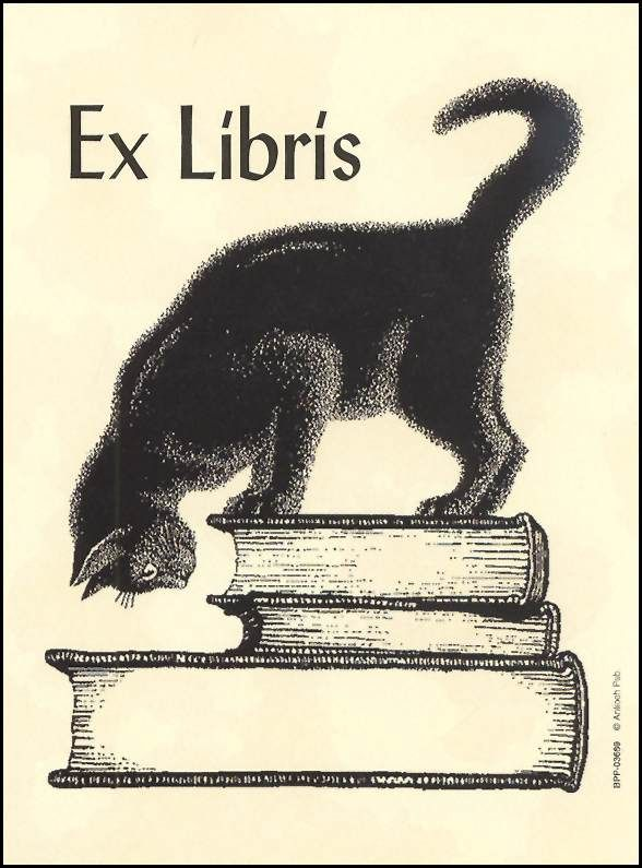 Ex Libris. Book stack. Curious cat.  Bookplate. $2.66 US per pack from rainbowresource.com