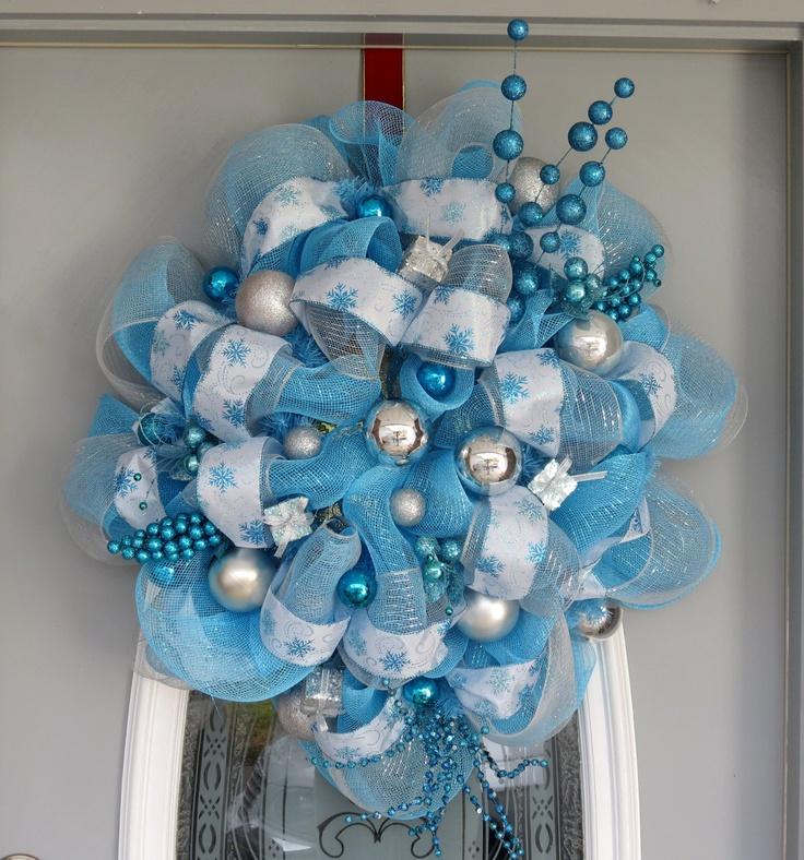 Light Blue Deco Mesh Wreath Snowflake Wreath