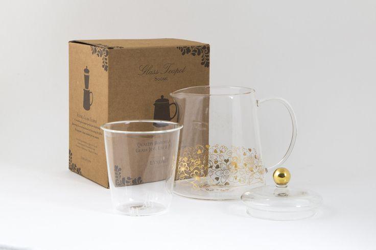 A #versatile #glass #teapot with a #gold #Birdy #design.