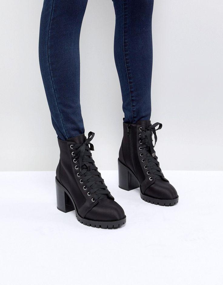 Miss Selfridge Lace Up Block Heel Ankle Boot - Black