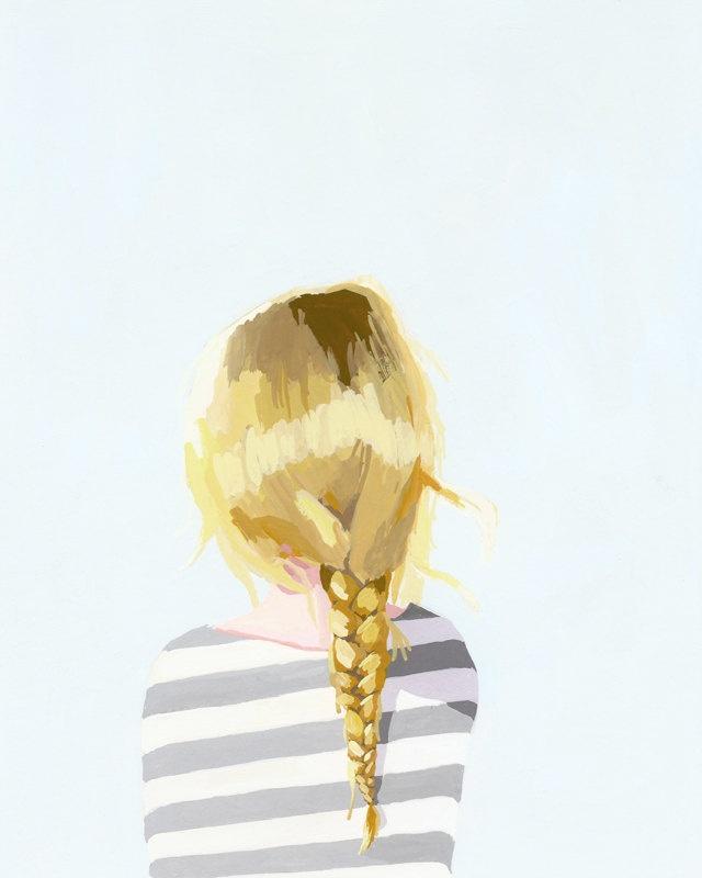 """hair art - braid print - """"Braid 3"""" giclee print. $20.00, via Etsy. would be so cute in bathroom"""
