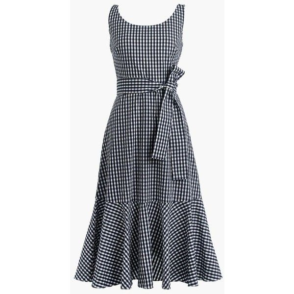 J.Crew Tall Gingham Ruffle-Hem Dress ($170) ❤ liked on Polyvore featuring dresses, gingham, dresses 3, white, flounce hem dress, below the knee dresses, white summer dress, flounce dress and below knee dresses