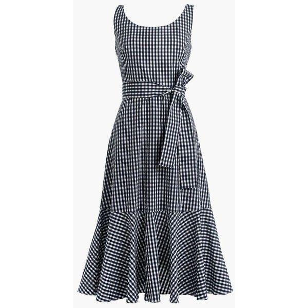 J.Crew Gingham Ruffle-Hem Dress ($170) ❤ liked on Polyvore featuring dresses, flounce hem dress, below knee dresses, gingham dress, ruffle hem dress and frill dress
