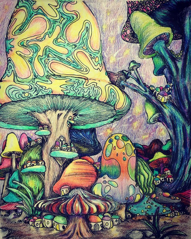 trippy mushroom coloring page