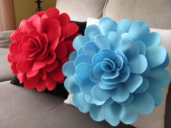 Felt Flower Pillow Pattern DAISY ROSE Felt Flower Throw Pillow Cover Pattern with 2 Bonus Pillow ...
