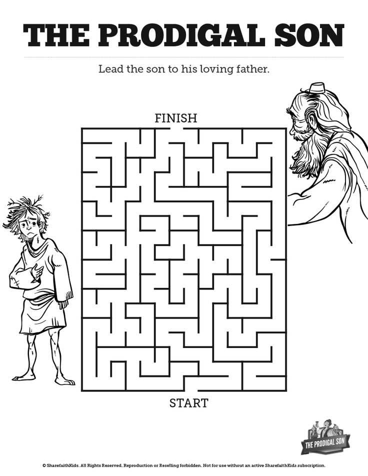The Prodigal Son Bible Mazes: Can your children lead the Prodigal Son home to his father? With just enough challenge to make it fun, this Prodigal Son Bible maze makes the perfect compliment to your upcoming Luke 15:11-32 Sunday school lesson.