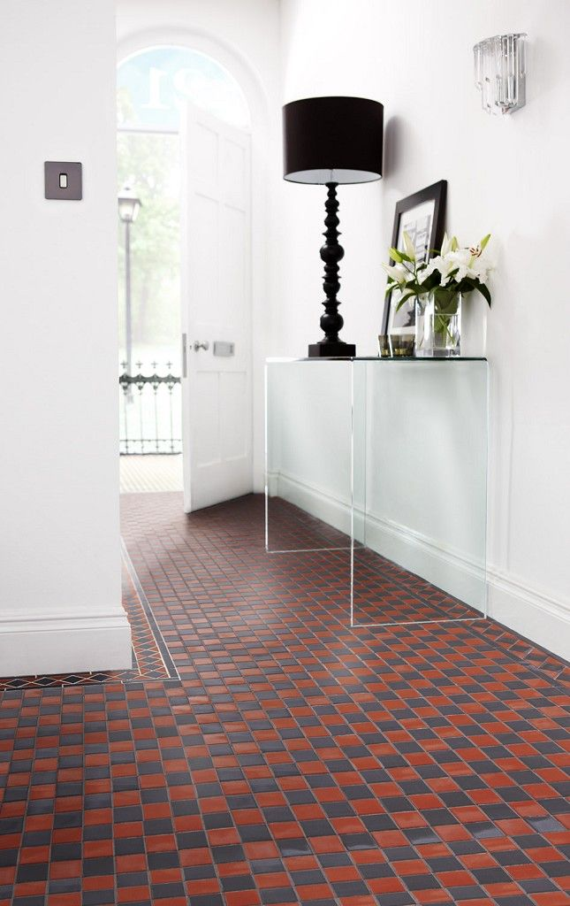 Victorian Red And Black Chequer Tiles White Hallway