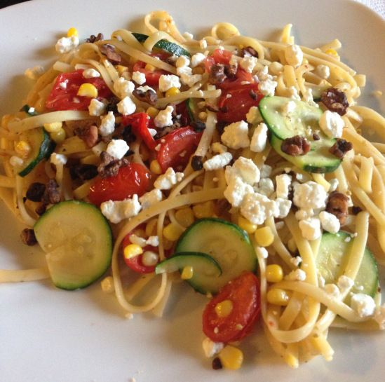Linguine with Summer Vegetables and Goat Cheese #recipe #pasta
