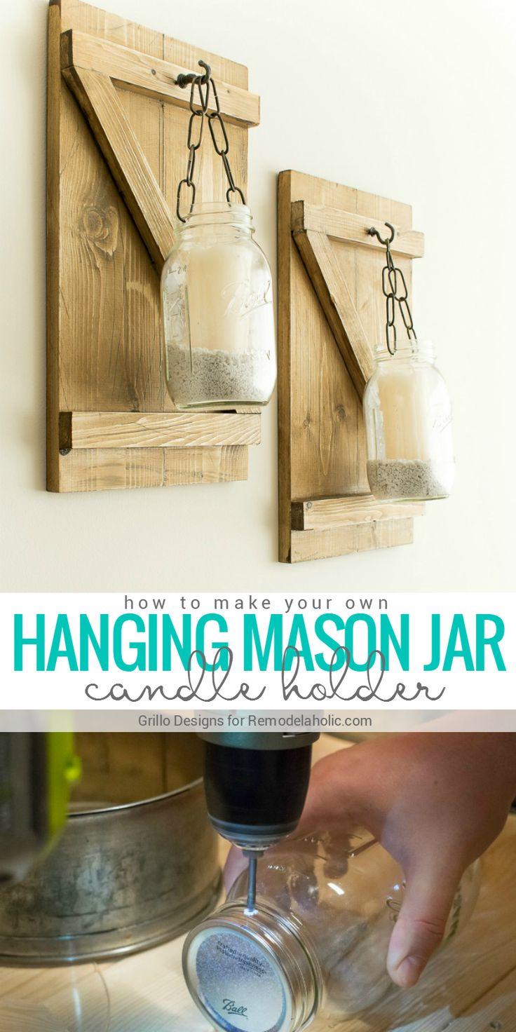 Best 25 rustic candle holders ideas on pinterest mason for Mason jar holder ideas