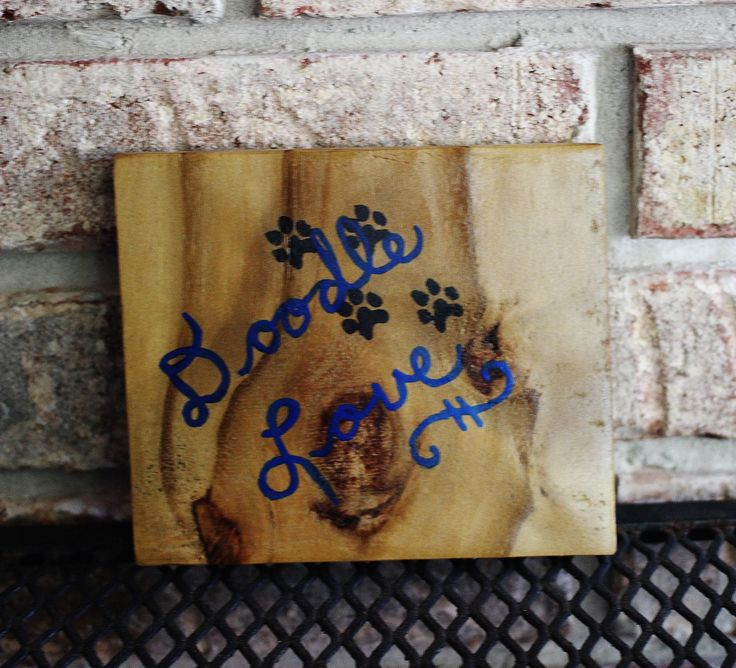 Labradoodle Golden Doodle Small Wood Sign Doodle Love Square Pet Dog Sign Handpainted Wooden Reclaimed Wood Fence Wood Painted by Hendywood by Hendywood on Etsy
